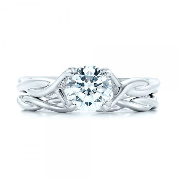 Petite Twist Solitaire Engagement Ring - Top View -  102702 - Thumbnail