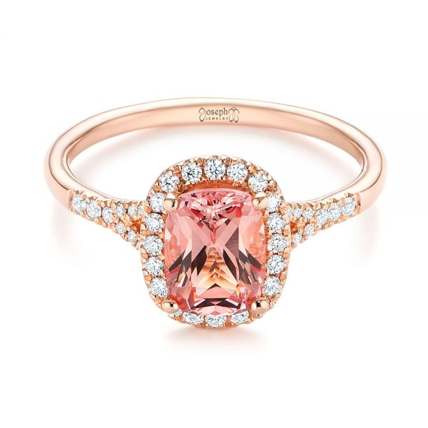 14k Rose Gold Pink Champagne Sapphire And Diamond Halo Engagement Ring - Flat View -  104657 - Thumbnail