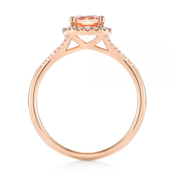 14k Rose Gold Pink Champagne Sapphire And Diamond Halo Engagement Ring - Front View -  104657 - Thumbnail