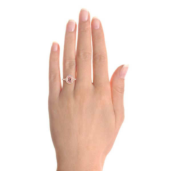 14k Rose Gold Pink Champagne Sapphire And Diamond Halo Engagement Ring - Hand View -  104657 - Thumbnail