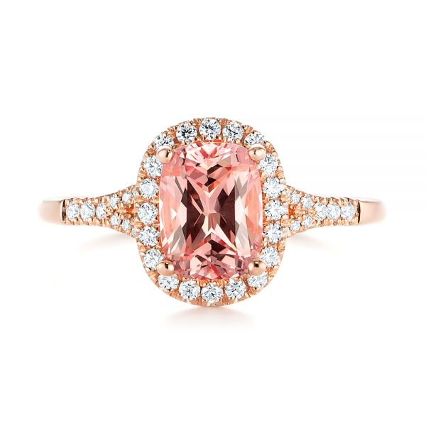 14k Rose Gold Pink Champagne Sapphire And Diamond Halo Engagement Ring - Top View -  104657 - Thumbnail
