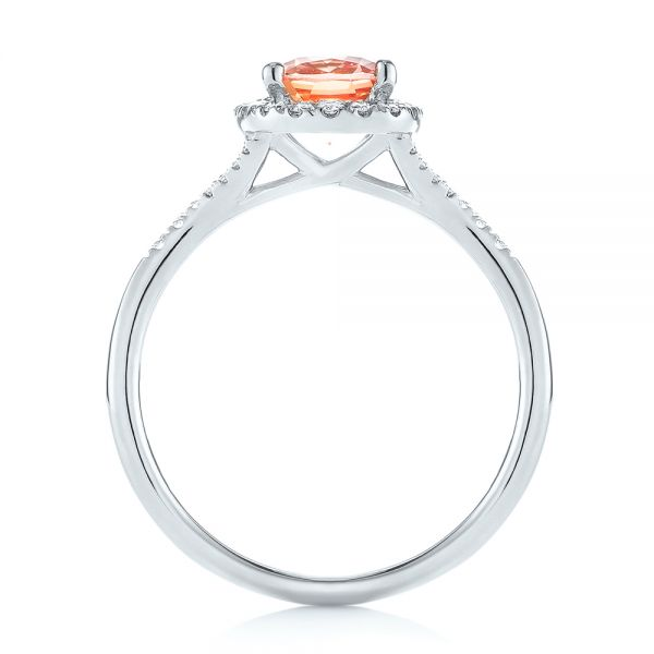 14K White Gold Pink Champagne Sapphire and Diamond Halo Engagement Ring - Front View -  104657 - Thumbnail