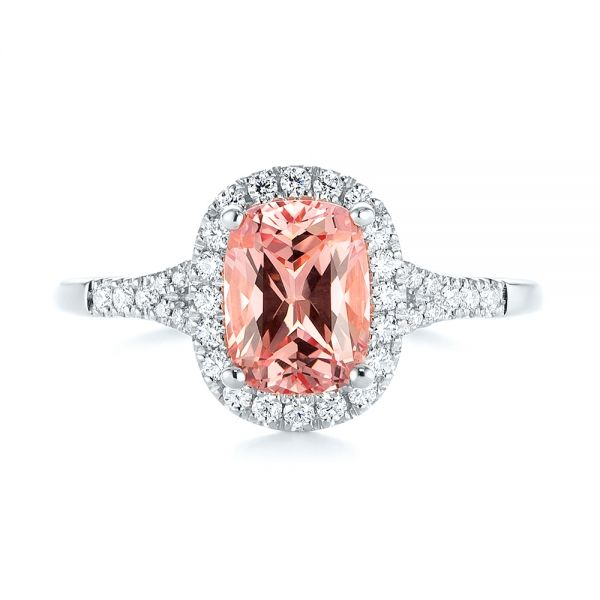 14K White Gold Pink Champagne Sapphire and Diamond Halo Engagement Ring - Top View -  104657 - Thumbnail