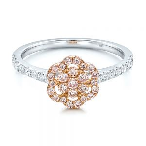 Pink Diamond Flower Engagement Ring