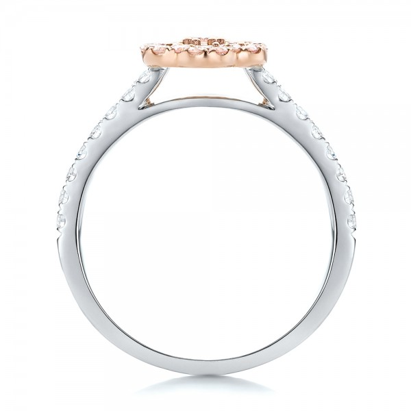 Pink Diamond Flower Engagement Ring - Finger Through View