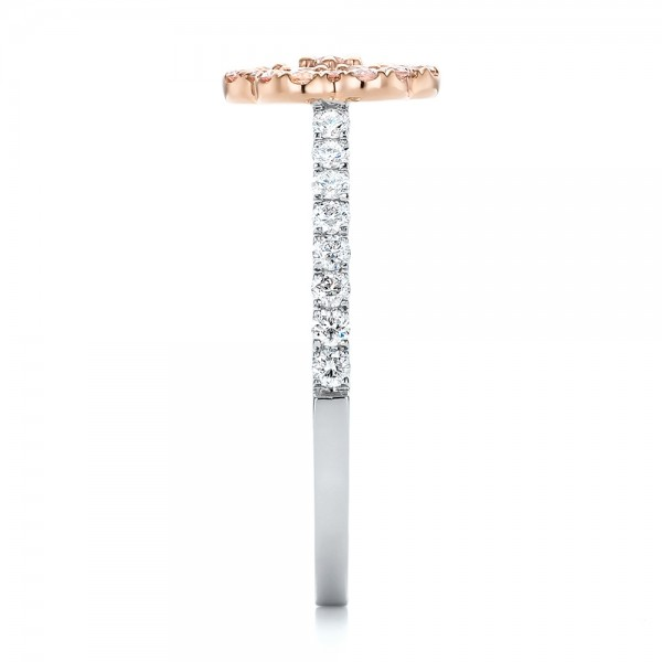 Pink Diamond Flower Engagement Ring - Side View