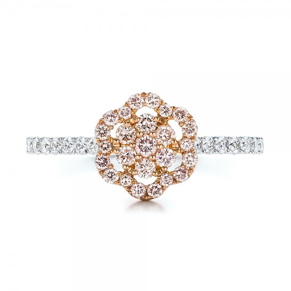 Pink Diamond Flower Engagement Ring - Top View