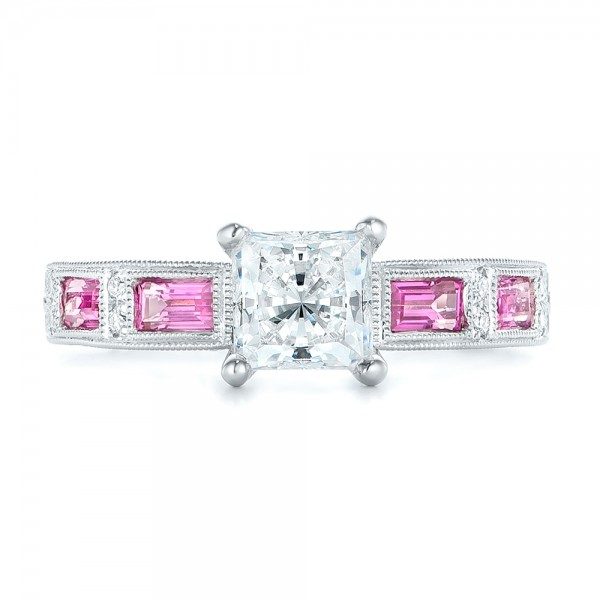 Pink Sapphire and Diamond Engagement Ring - Top View