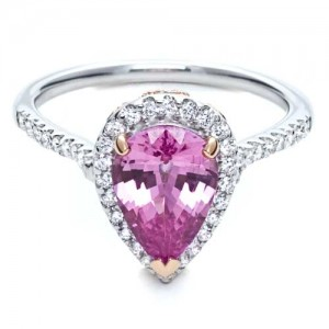 Pink Sapphire and Diamond Two-Tone Engagement Ring - Parade