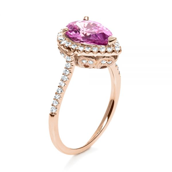 Pink Sapphire and Diamond Two-Tone Engagement Ring - Image