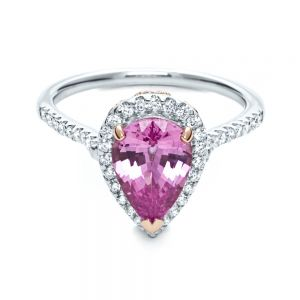 Pink Sapphire and Diamond Two-Tone Engagement Ring