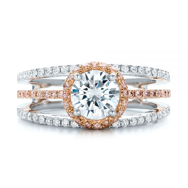 Pink and White Diamond Bridal Set - Top View -  101956 - Thumbnail