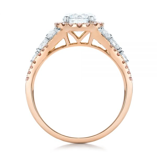 Pink And White Diamond Halo Engagement Ring - Front View -