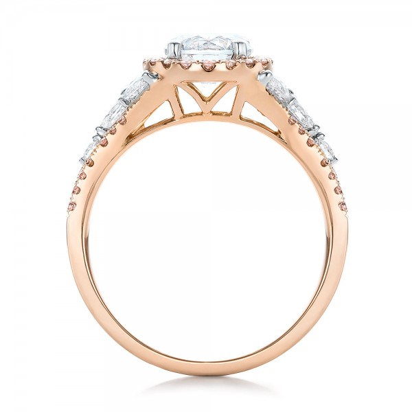 Pink and White Diamond Halo Engagement Ring - Finger Through View