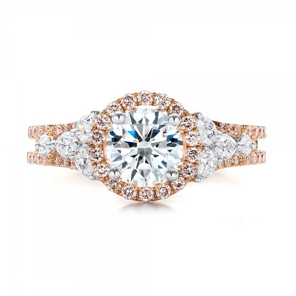 ring unique diamonds diamond designers rings engagement uneek pink halo top n of