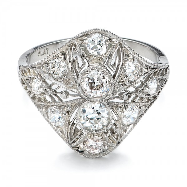 Estate Art Deco Diamond Engagement Ring - Laying View