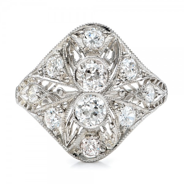 Estate Art Deco Diamond Engagement Ring - Top View