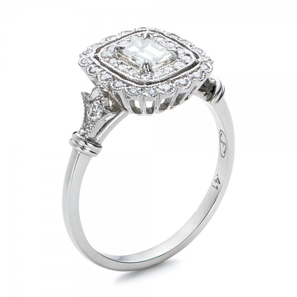 Estate Diamond Halo Engagement Ring - 3/4 View