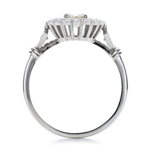 Estate Diamond Halo Engagement Ring - Finger Through View