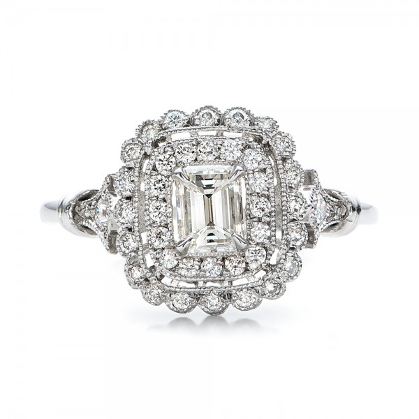 Estate Diamond Halo Engagement Ring - Top View