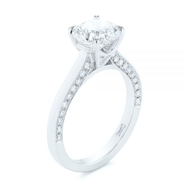 Platinum Peekaboo Diamond Engagement Ring - Three-Quarter View -  104882 - Thumbnail