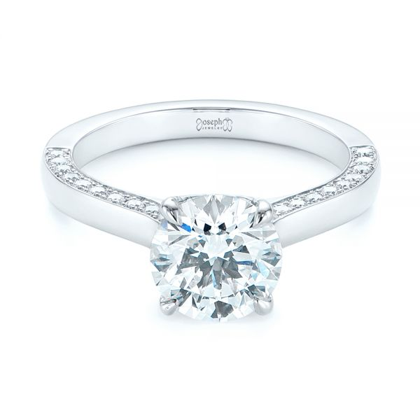Platinum Peekaboo Diamond Engagement Ring - Flat View -  104882 - Thumbnail