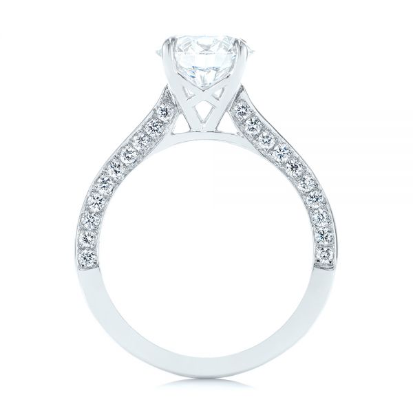 Platinum Peekaboo Diamond Engagement Ring - Front View -  104882 - Thumbnail