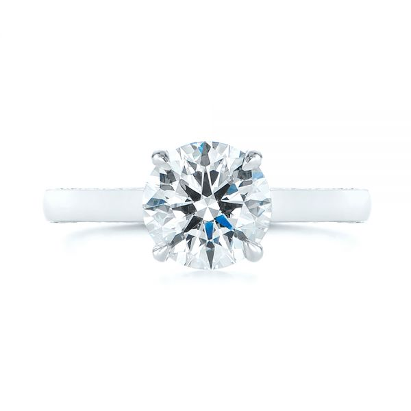 Platinum Peekaboo Diamond Engagement Ring - Top View -  104882 - Thumbnail