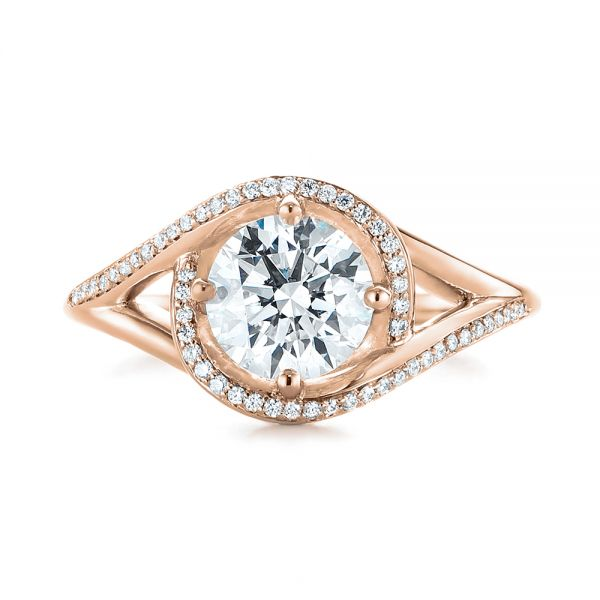 14k Rose Gold 14k Rose Gold Split Shank Wrapped Halo Diamond Engagement Ring - Top View -