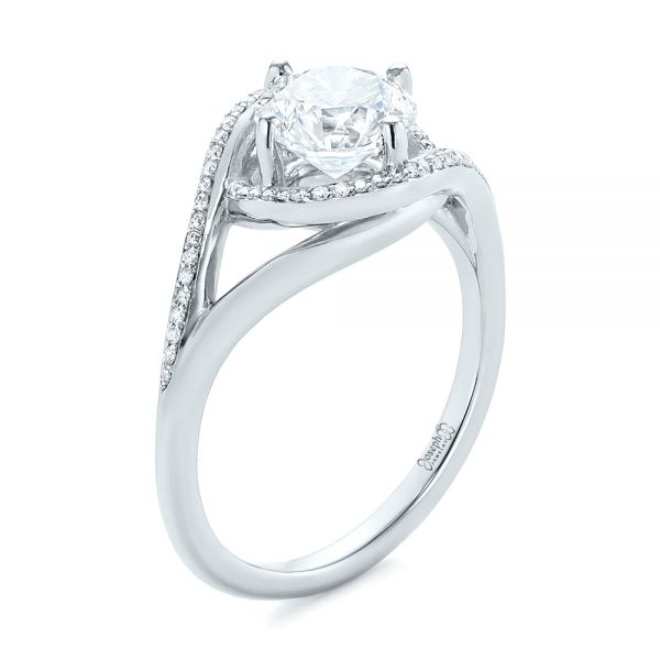 Platinum Split Shank Wrapped Halo Diamond Engagement Ring