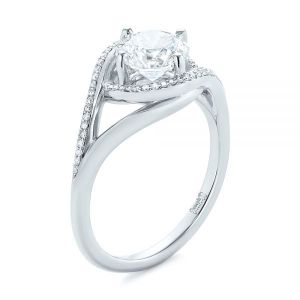 Platinum Split Shank Wrapped Halo Diamond Engagement Ring - Image