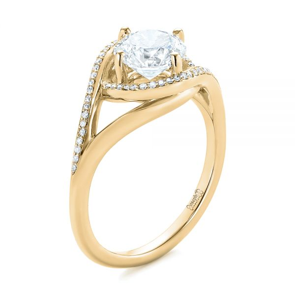 14K Yellow Gold Platinum Split Shank Wrapped Halo Diamond Engagement Ring - Three-Quarter View -  104584 - Thumbnail
