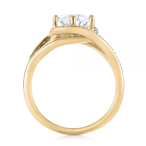 14K Yellow Gold Platinum Split Shank Wrapped Halo Diamond Engagement Ring - Front View -  104584 - Thumbnail
