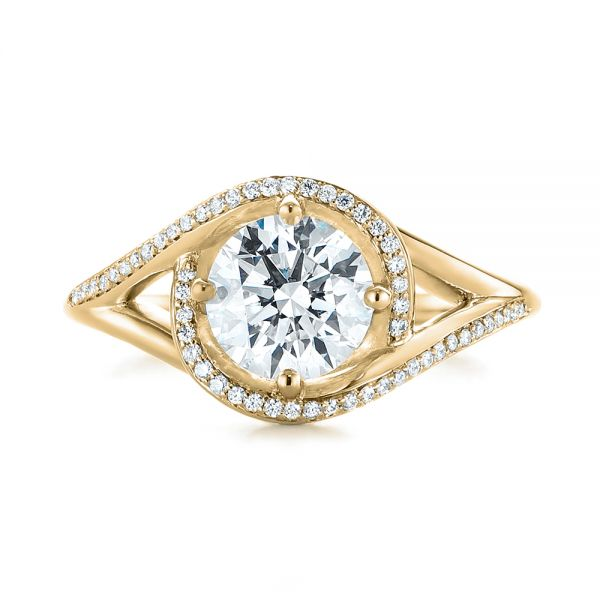 14K Yellow Gold Platinum Split Shank Wrapped Halo Diamond Engagement Ring - Top View -  104584 - Thumbnail