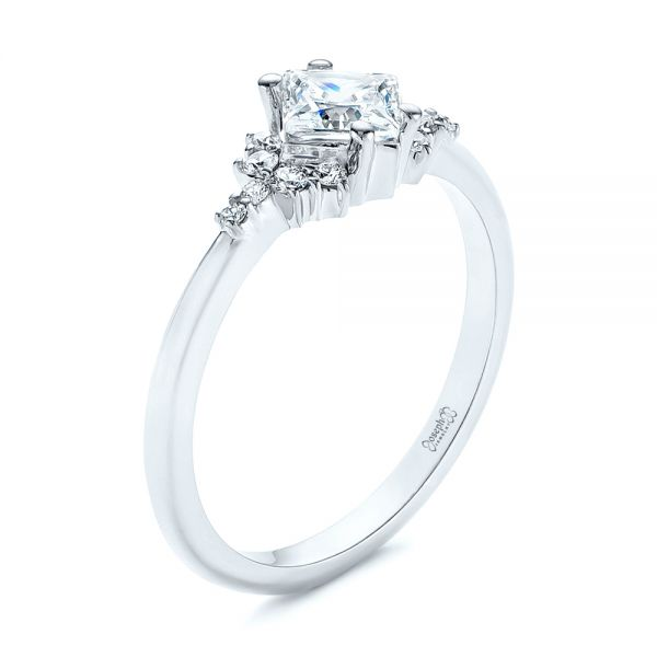 Princess Cut Diamond Cluster Engagement Ring