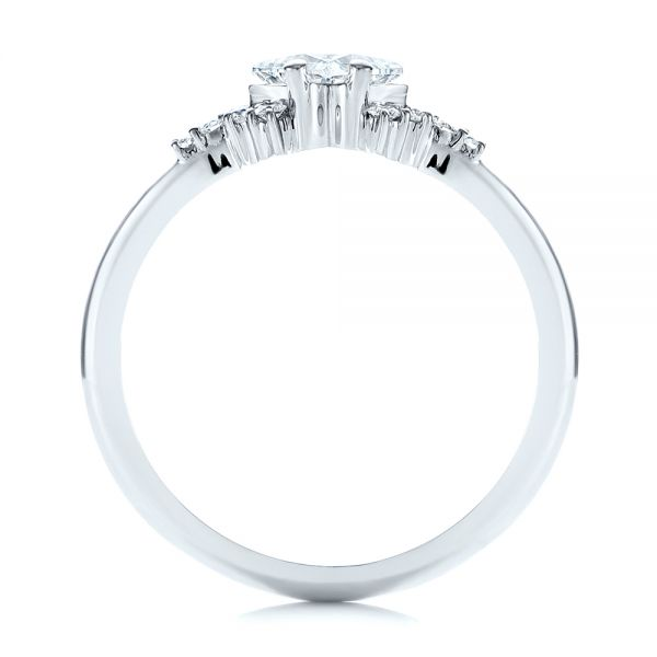 18k White Gold Princess Cut Diamond Cluster Engagement Ring - Front View -