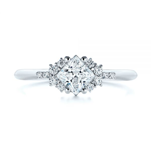 18k White Gold Princess Cut Diamond Cluster Engagement Ring - Top View -