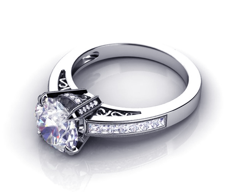 Princess Cut Diamond Engagement Ring - 3/4 View