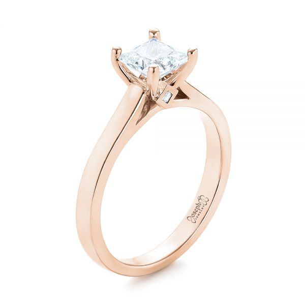 14k Rose Gold 14k Rose Gold Princess Cut Diamond Engagement Ring - Three-Quarter View -  104091