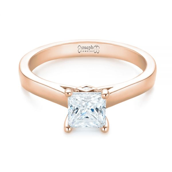 14k Rose Gold 14k Rose Gold Princess Cut Diamond Engagement Ring - Flat View -  104091