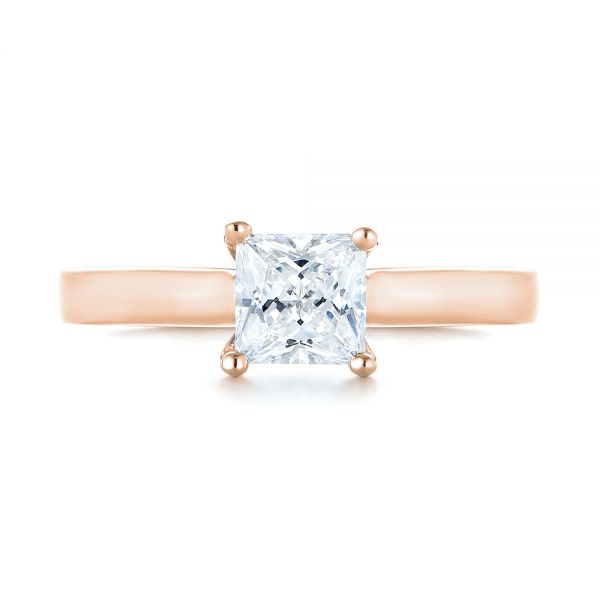 14k Rose Gold 14k Rose Gold Princess Cut Diamond Engagement Ring - Top View -  104091