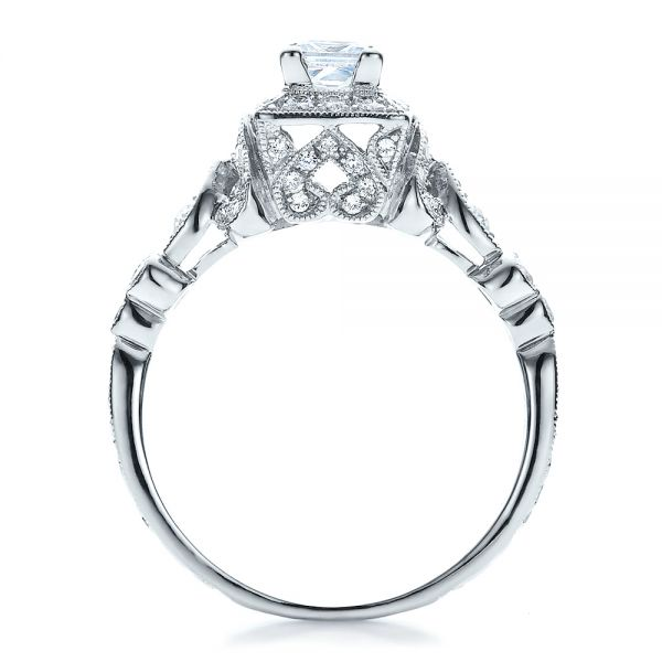 18k White Gold Princess Cut Diamond Engagement Ring - Vanna K - Front View -