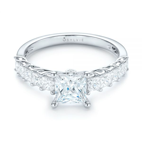 Princess Cut Diamond Engagement Ring - Flat View -  103082 - Thumbnail