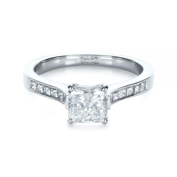 Princess Cut Diamond Engagement Ring - Flat View -  1381 - Thumbnail
