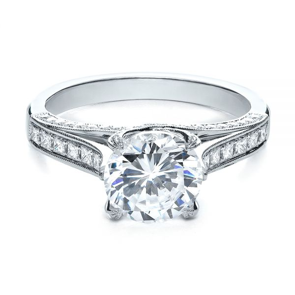 18k White Gold Princess Cut Diamond Engagement Ring - Flat View -