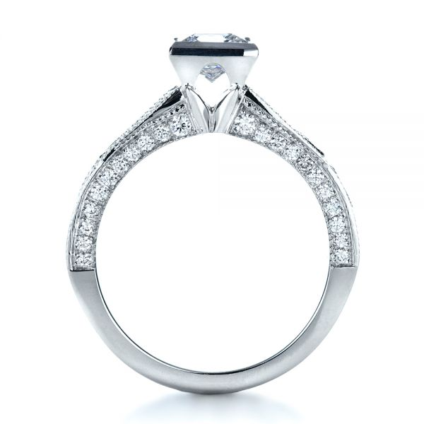 18k White Gold Princess Cut Diamond Engagement Ring - Front View -