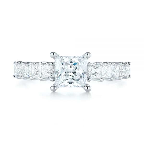 Princess Cut Diamond Engagement Ring - Top View -  103082 - Thumbnail