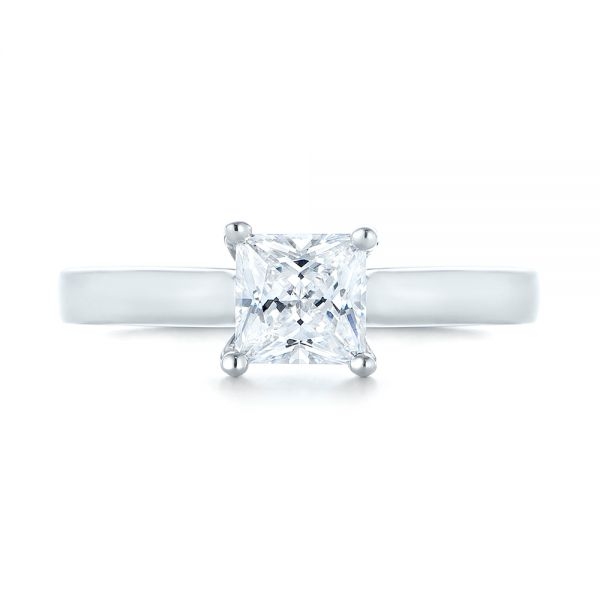 18k White Gold 18k White Gold Princess Cut Diamond Engagement Ring - Top View -