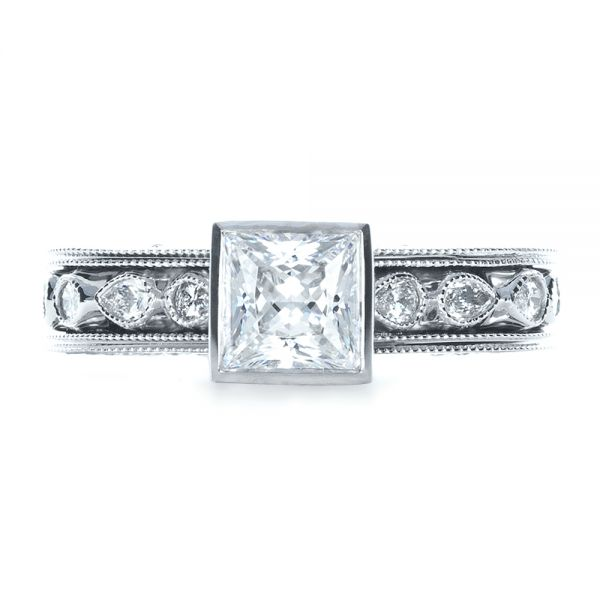 18k White Gold Princess Cut Diamond Engagement Ring - Top View -