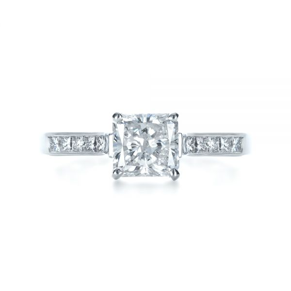 Princess Cut Diamond Engagement Ring - Top View -  1381 - Thumbnail